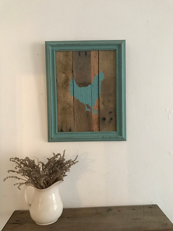 Rustic Pallet Framed Chicken Silhouette