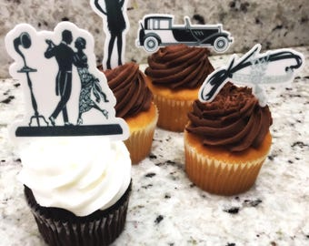 Great Gatsby (Edible) Cupcake Toppers, Great Gatsby, Great Gatsby cupcake topper, Great Gatsby Decor,Great Gatsby Party, Precut