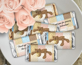 Bear Necessities - Baby Shower or Birthday Party Instant Download - EDITABLE PDF, DIY Hershey Mini Candy Bar Wrappers, Printable Labels