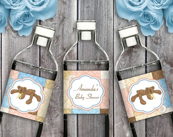 Bear Necessities - Baby Shower - Birthday Party Instant Download - EDITABLE PDF, DIY Printable Water Bottle Labels
