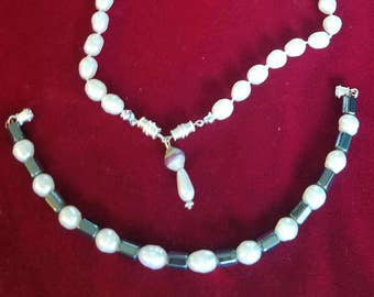 One or two necklaces made with Freshwater Pearl and hematite