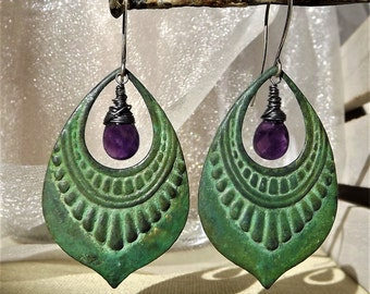 Verdigris Earrings - Patina-  Drop Earrings - Verdigris Patina -  Chandelier Verdigris Drop - Amethyst Drop - Antiqued Patina - Sterling -