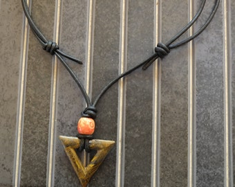 Pendant Cord leather, tiger eye, boho necklace Tiger eye