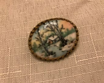 Vintage Reverse Painted Glass Pin