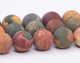"4MM Matte Picasso Jasper Natural Gemstone Half Strand Round Loose Beads 7.5"" (101084h-315)"
