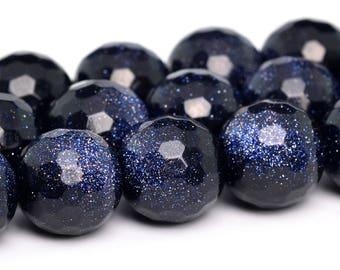 "10MM Faceted Midnight Blue Sandstone Natural Gemstone Half Strand Round Loose Beads 7.5"" (100796h-343)"