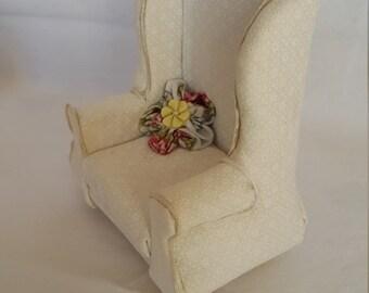Winged Armchair, 1/12 Scale, Miniature Dollshouse Furniture
