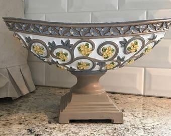Oval Bowl on Pedestal
