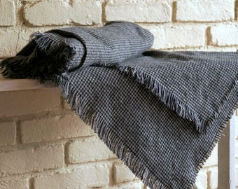Flannel Houndstooth Throw Blanket - Black and Gray Flannel Blanket - Christmas Blanket - Cabin Blanket - Gift under 50
