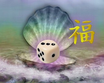 SCALLOP SHELL w Dice & Good Luck Symbol, Art Print, 6x6 image in 8x10 mat
