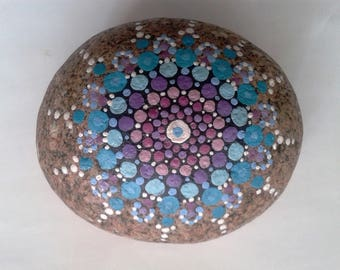 Large Blue tones Mandala Stone, hand painted pebble, painted rock from Cornwall, painted stone, paperweight, meditation  aid.