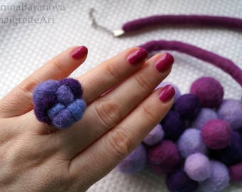 Needle felt ring. Handmade needle felted ring in recycled wool. Handmade ring. Needle felting ring. Felt gift. Fashion jewelry.