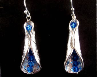Silver Tube Earrings with Blue Swarovski Crystals