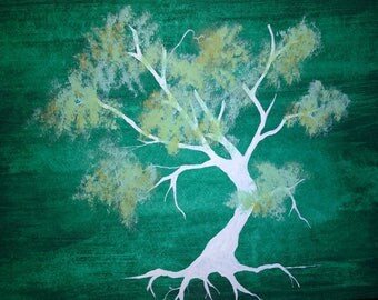 Green Tree Watercolor Painting