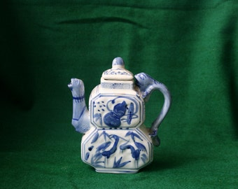 Blue and white porcelain chinese teapot
