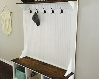 Entryway bench and coat rack with storage and shelf!