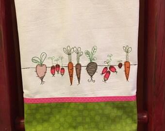 Embroidered Vegetable Garden Kitchen Towel