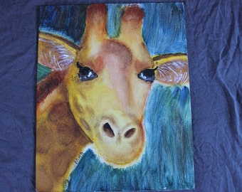 giraffe painting, acrylic giraffe, yellow giraffe , animal art, acrylic, painting, tribal, African art, wild animal art, tribal decor