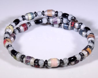 Etched In Stone (Upcylced Paper Bead Bracelet/CB0018)
