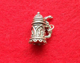 Sterling Silver Stein Charm with Hinged Lid
