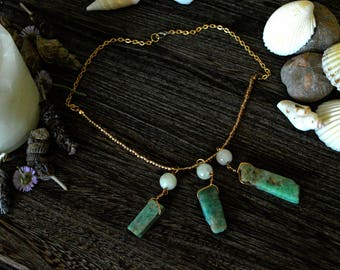 Rough Amazonite and Moonstone Necklace// Gemstone Necklace// Witchcraft Jewelry// Wicca// Magick