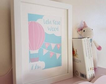 New Baby Gift Nursery Print Personalised Hot Air Balloon Bunting