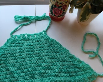 Turquoise green crop top