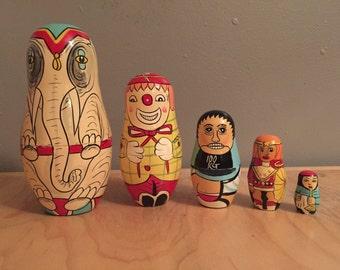 Russian Nesting Dolls Circus Theme 10 piece/5 Matryoshka Dolls