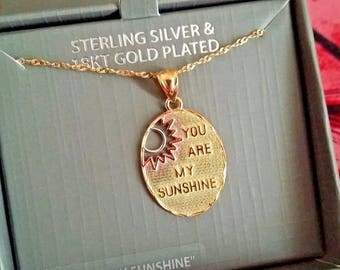 "Sterling Silver and 18kt Gold-Plated ""You are my Sunshine"" Pendant Necklace"