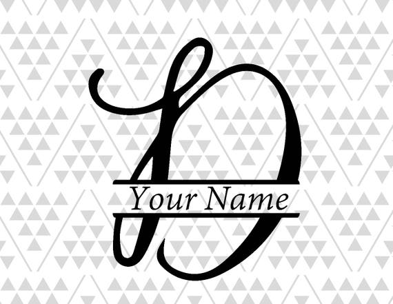 monogram letter d split letter d silhouette files digital