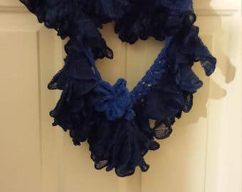 Blue Ruffled Finity Scarf