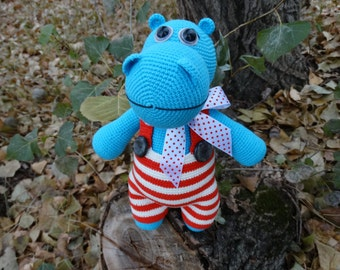 Hippo puppet Hippo toy, crochet Hippo, baby Hippo plush Hippo,blue Hippo, crochet, lots of Hippo, handmade, Hippo gift, toy for children.