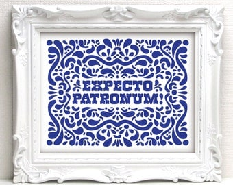 "Harry Potter ""Expecto Patronum"" Spell / Quote (Navy Blue) · 8x10 Print · Instant Digital Download!"