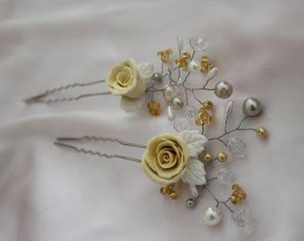 Hair Pins ( Set of 2 ), Bridal Hair Pins, Hair Accessories, Yellow Hair Accessories