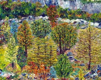 Figurative art | Oil on canvas | Landscape | Trees | Texture | Colours | Nature | Rocks