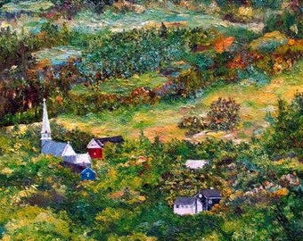 Figurative art | Oil on canvas | Landscape | Village | Texture | Colours | Nature | Buildings