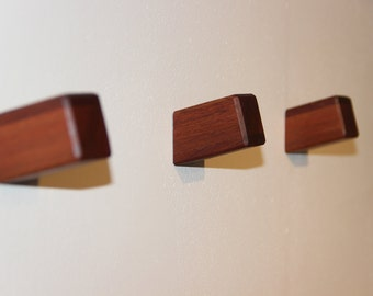 3 Mahogany Wall Hook, Wooden Coat Hook, Coat Rack, Modern Wooden Hook, Hat Hook