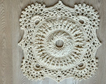 """Hand knitted rug """"Mosaic"""" 60 cm Doily Crochet Vintage Mat Cotton 100%"""