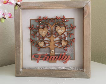 Family is everything! Special Personalised Family Tree Keepsake Gift Box Picture Frame for the special someone in your life