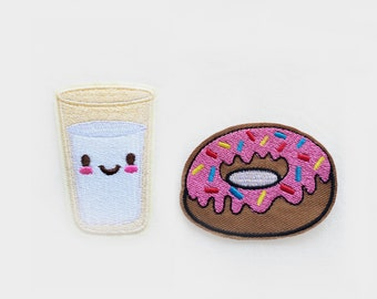 DUO Glass of Milk  & pink Donut PATCHES  Iron On Embroidered Applique sweet yummy simpson blue yellow sparkles custom diy fun project