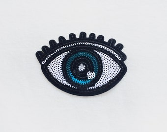 1x large sequins blue EYE Patch open eyes lashes custom your jacket, clothes, hat, bag with an Iron On Embroidered Applique