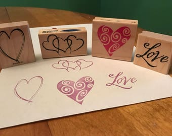 4 Wooden Ink Stamps Hearts and Love USED