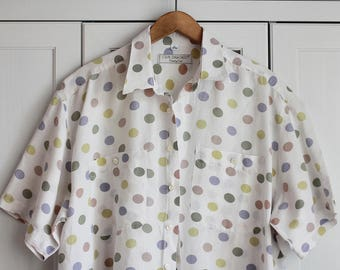 Vintage Shirt Dots Oldschool 80s 90s Pattern White Unisex Top Collar Hipster Oversize Colorful Shorts Sleeves Button Down / Extra Large