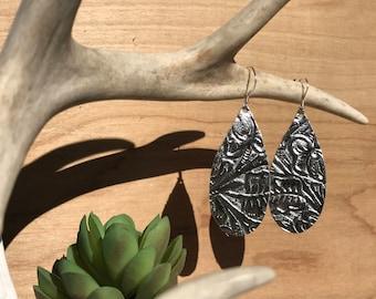 Silver stamped leather teardrop earrings