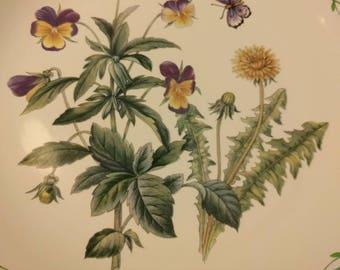 Studio Nova Y2372 Garden Bloom Dinner Plates  Butterflies, Violets, Dandelions Beautiful Greens