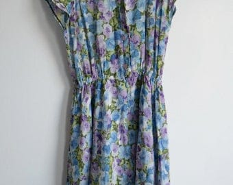 Vintage Floral Day Dress 50's/60's Style