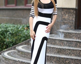 White and Black Dress  / LWBD / Long White and Black Dress / Pencil Dress / Prom Dress / Party Dress / Sianela