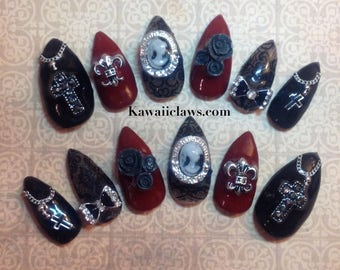 RTS Size M Gothic Lolita Cameo Rosary & Lace Gel Nail Art