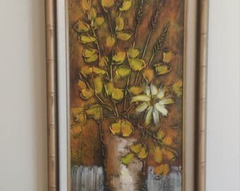 Vntg Mid Century Floral Painting -Signed HELGASON -Bamboo Frame