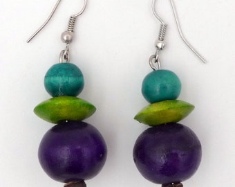 Anise green painted wood earrings / purple / orange / red